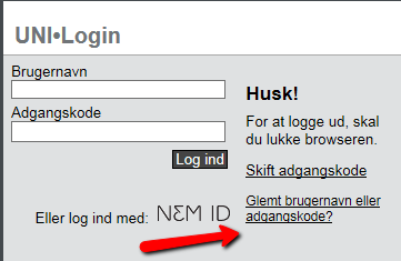 UniLogin reset password